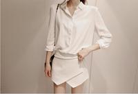 free shipping new arrival women's 2014 spring shirt long-sleeve slim shirt basic women's white chiffon shirt