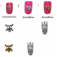 wingood88 store Free shipping skull candy shape gold-plating  for makeup Nails with rhinestone alloy Nail Art Decorations