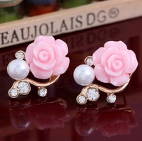 Sunshine jewelry store Promotion Elegant sparkling crystal earrings pearl earrings flower earrings