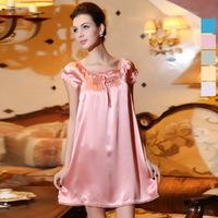 100% Mulberry silk sleepwear women's loose short-sleeve summer embroidered princess doll silk nightgown nightdress