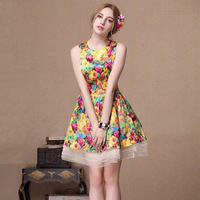 2014 New Spring Summer European American Style Women Fashion Organza Print Brand Dress yellow/Red,High quality Cute Sundresses