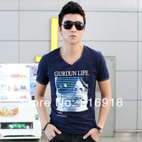 2014 summer fashion o-neck 100% male cotton print t-shirt male T-shirt short-sleeve shirt male t-shirt