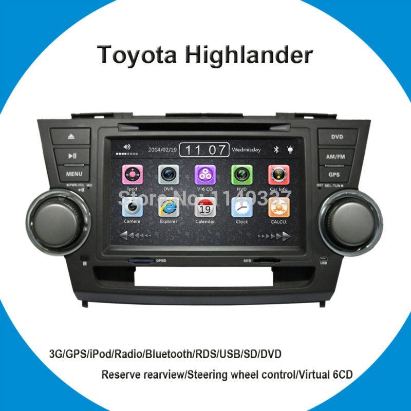 "Toyota Highlander Car DVD! 8"" Special In Dash Car DVD Player for Toyota Highlander with GPS Analog TV RDS Bluetooth USB SD iPod(China (Mainland))"