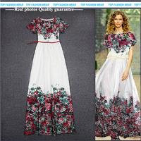 HIGH QUALITY New Fashion 2014 Summer Runway Maxi Dress Women's Brief White Print Sweet Short Sleeve Full Dress Long Dress