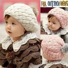 Kids Girls Baby Handmade Crochet Knitting Beret Hat Cap Cute Warm Beanie 4Colors Free Shipping Drop Shipping(China (Mainland))