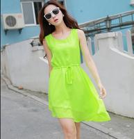 2014 New Summer solid color chiffon one-piece dress, plus size S -- XXXL Irregular dress ,cute dress for girls