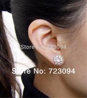 Promotion Hot Selling Best Quality Womens Clear CZ Crystal Rhinestone Silver Plated Ear Stud Earrings Jewelery for Women  JE011