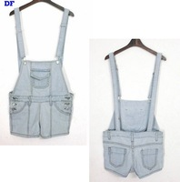 2014 New spring summer women's loose denim bib pants shorts women overalls jeans shorts demin shorts women jumpsuits rompers