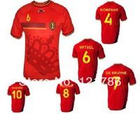 A+++ Belgium 2014 world cup home LUKAKU HAZARD VERMAELEN Kompany Fellaini soccer football jerseys
