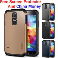 1pcs Free China Money New ! Tough Armor SPIGEN SGP Case for Samsung Galaxy S5 Hard Mobile Phone Cover Bags 1pcs Retail 13 Colors