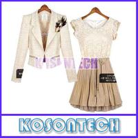 Free Shipping New 2013 spring summer new womens Court style Retro Lace Sleeveless vest dress KS6139