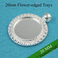 20mm Silver Round Pendant Tray, Sunflower Edged Pendant Setting, Bezel Pendant Blank For Glass or Stones