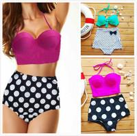 2014 Cutest Retro 50s Swimsuit High Waisted Swimwear Women Vintage Bathing Suits Pin Up Bikini Set S/M/L/XL For Women