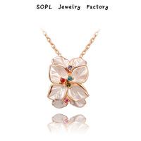 ROXI Jewelry Luxury platinum pendants gift fashion genuine Austrian crystals flowers necklace rose gold plated 100%hand made