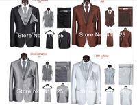 Free Shipping 2014 Fashion Men Wedding Suit Slim Fit Business Suit Set S-4XL Dress Suits One Button Black/Grey Tuxedo for Men