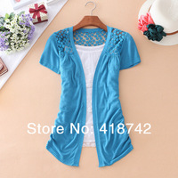 New Good Crochet Hollow Out Short Sleeves Knitwear Blouse Cardigan