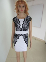 2014 Fashion Women Backless Career Office Dress With Lace Patchwork Short Sleeves Splice Low Back  White Dresses Black Dress