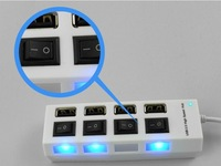 Free Shipping 2014 new 4 Port USB 2.0 High Speed HUB ON/OFF Sharing Switch For Laptop Black/White