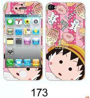 2pcs Free shipping kawaii beautiful girl dancing cute cartoon diy decoration luminated sticker for iphone 4 4s cell mobile phone
