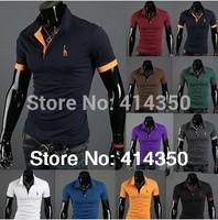 2014 New Free shipping mens brand short sleeve casual style golf shirt slim fashion cotton t shirt for men
