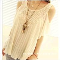 Hollow Out New Women Summer Retro Tops Female Chiffon  Lace T shirts Camisa Bata Tenda Crochet Blusas Femininas