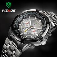Fashion Watch 2014 WEIDE brand business style Original JAPAN movement quartz watch, men full steel watch Free shipping