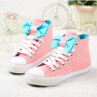 2014 spring & autumn women canvas shoes Hotsale female flower printing bow  sneaker Fashion Polka dot women casual shoes bowknot