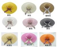Female big along the cap sunbonnet bow large brim beach hat summer straw braid hat