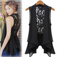 New 2014 Hollow Blouse Back Kace Crochet Chiffon Lace Coat Top For Women Shirt Fashion Top Drop Shipping