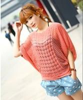 2014 New Top Sale Fashion Women Loose Hollow Out Slash Neck Half Sleeve Crochet Blouse & Shirts