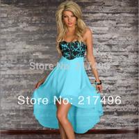 New sexy women Irregular dress elegant contrast color lace mesh wrapped chest splice chiffon dresses nightclub clubwear