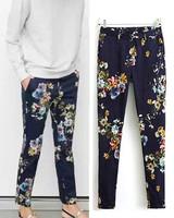 2014 ZA Trendy Women Spring Summer Dark Blue color contrast Floral Print Long Pencil Pants Ladies Slim Casual Trousers Bottoms