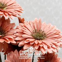 (10 Pcs/lot) European Bouquet Artificial Vivid gerbera Silk Flowers Fake Leaf Wedding Home Party Decoration 3 Colors to Choice