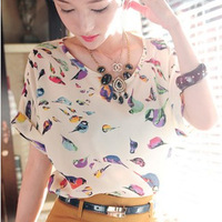 Fashion hot-selling loose plus size print shirt short-sleeve T-shirt basic shirt chiffon shirt #1096