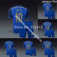 camiseta de futbol argentina 2014 away dark blue soccer jerseys uniforms kits di maria messi maradona higuain kun aguero lavezzi