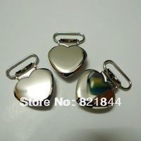 25 pcs 1'' 25mm Silver Color and Heart Shape Pacifier Clips/Suspender Clips Rack Plating Free Shipping