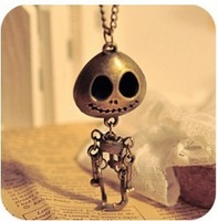 (bronze) big eyes UFO alien skull head a long paragraph sweater chain necklace!#119
