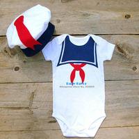 Free Shipping Infantil Bebe Newborn Baby Girls Boys Unisex Sailor Hat Cap+Bodysuit Clothing Set Suit Costume Navy 0-18 Months