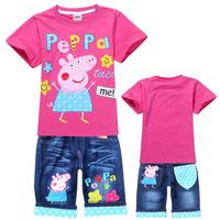 2014 spring and summer peppa pig children clothing sets girls and boys sets kids apparel kids tops + pants conjunto Infantil