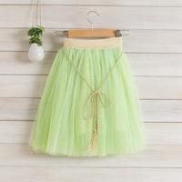 2014 New,girls long skirts,children summer princess skirts,8 colors,sashes,bow,2-8 yrs,5 pcs / lot,wholesale kids clothing,0874
