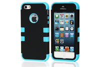 Heavy Duty 2 Piece Black Silicone PC Back Cover Case For IPhone5 5S