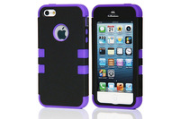 Triple Heavy Duty Rubber Silicone PC Back Cover Case For Iphone 5 5S
