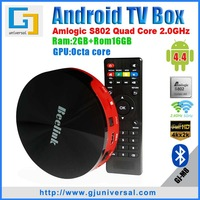 New arrive M8 2G/16G Amlogic S802 quad-core Android TV BOX Dual Band Wi-Fi Octa-core GPU BT 4K HDMI Android 4 4 kitkat XBMC
