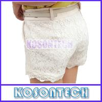 FREE SHIPPING Women 2013 New Summer High Waist Zipper Fly Lace Crochet Black/White/Beige Matching Shorts KS6218