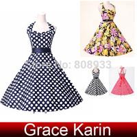 Stock Summer Women 50s Vintage Dress Audrey Hepburn Slim Waist Print Pinup Retro Swing Dress Short Ball Prom Party DressesCL6076