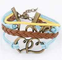 2014 Fashion Exaggerated Vintage Double Love Charming Bracelet & Bangles For Women!#860