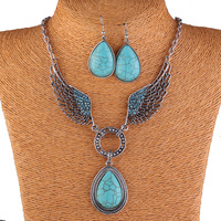 Vintage Silver Plated Famous Turquoise Angel Wing Necklace and Earring Jewelry Set 2014 Spring Fashion Jewelry Free Shipping