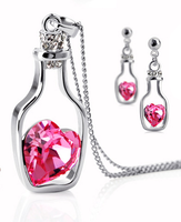 Free shipping 2014 new fashion jewelry wholesale punk austria crystal accessory earring necklace set adrift bottle cutout women