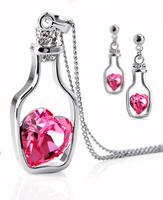 Free shipping 2014 new fashion jewelry wholesale punk austria crystal accessory earring necklace set adrift bottle cutout women