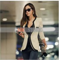 Hot! OL Outerwear 2014 New Fashion Winter Big size XL Women Slim Blazer Coat Casual Jackets Long Sleeve V-Neck Black White Suit